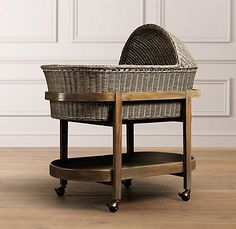 RH Baby & Child's Heirloom Wicker Bassinet & Mattress Set - Weathered Grey:Offering a safe haven for snoozing, our bassinet is woven of natural wicker around a sturdy metal frame, then given a light grey wash for a casual, gently weathered appearance. Baby Bassinet, Baby Cribs, Wood Bassinet, New Baby Wishes, Baby Dolls, Restoration Hardware Baby, Rh Baby, Moses Basket, Baby Sleep