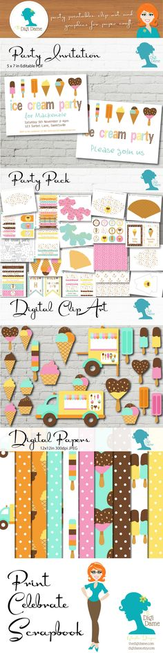 Ice Cream Party! Print your Party, Celebrate it, then Scrapbook it, with The Digi Dame, Graphic Designer on Etsy! You can find matching Party Invitations, Party Printables Packs, and Digital Scrapbooking Papers & Clip Art from The Digi Dame Etsy Shop! digidame.etsy.com