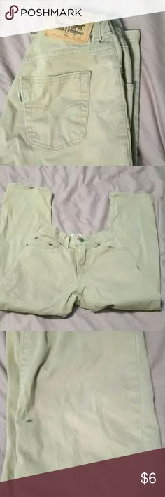 Boys 8 Levis khaki jeans, straight leg, adjustable As is. No rips, but a couple grey stains on the leg, as seen in pictures 2 and 3. (May be cut off as shorts.) Otherwise good condition. Adjustable waistband. Khaki color is slightly darker than photos. Levis Bottoms Jeans