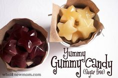 Homemade Gummy Candy - that's Yummy and Sugar-Free - Lemon Juice/Fruit Juice Concentrate, Liquid Stevia, and Gelatine Gelatin Recipes, Candy Recipes, Whole Food Recipes, Snack Recipes, Thm Recipes, Free Recipes, Vegetarian Recipes, Homemade Gummies, Healthy Sweets