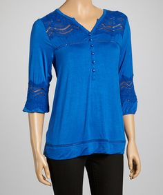 Love this Lapis Embellished Notch Neck Top by Simply Irresistible on #zulily! #zulilyfinds