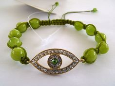 Green Aventurine Evil Eye Hamsa Bracelet Gold Green Crystal Beaded Judaism