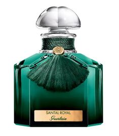 Santal Royal Guerlain for women and men. Santal Royal leads into the world of the mysterious Oriental woods with emerald green. The scent contrasts sandalwood, jasmine, rose, leather and oud. Parfum Guerlain, Perfume Parfum, Parfum Paris, Parfum Chanel, Perfume Scents, Perfume And Cologne, New Fragrances, Perfume Azul, Blue Perfume
