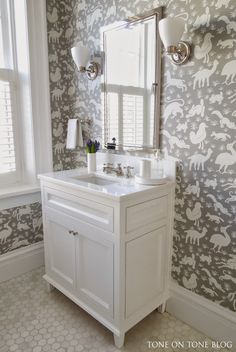 Super cute child's bath, the wallpaper! from Tone on Tone: Shades of Gray and White