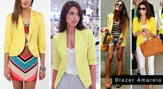 Onde Encontrar Blazer Amarelo. Com ele você é capaz de montar looks variados com calça saia short vestido macacão etc. Vamos falar sobre a montagem de looks utilizando o blazer amarelo.   clique aqui!: http://imaginariodamulher.com.br/onde-encontrar-blazer-amarelo/
