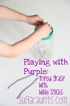 By #TheSugarAunts Use a grated cheese container to work on tripod grasp through play.  Use a single color  to explore color with Toddlers.  Also great for eye-hand coordination and cause and effect.