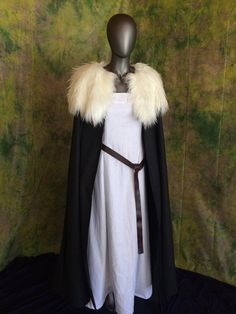 Wool Cloak with Fur Collar Your Choice of Coloring
