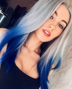 50 Bold And Pretty Blue Ombre Hair Color And Hairstyles You Must Try For The Coming Holiday - Page 19 of 50 - Chic Hostess Royal Blue Hair, Blue Ombre Hair, Ombre Hair Color, Cool Hair Color, Gray Ombre, Blonde Hair With Blue Tips, Blue Hair Colors, Hair Color Ideas, Silver Blue Hair