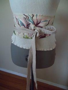 Vintage Mid Century Barkcloth Obi Wrap Belt