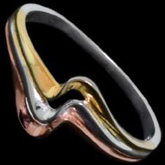Silver ring, triple wave, plating Silver ring, Ag 925/1000 - sterling silver. Fine design – a triple wave. Three color plating – silver, yellow gold, red gold. A fine work – indistinguishable from white gold.