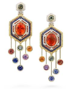 Mexican Fire Opal, Green, Blue, Pink and Orabge Sapphires, and White Diamonds make up these Maasai Mara Earrings by Votive. Sunny but chic, feminine yet bold.