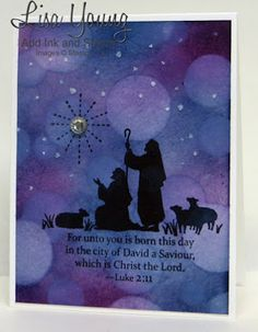 ** watercolor Stampin' Up! Every Blessing stamp set. Silhouette of shepherds with Bokeh background. Handmade Christmas card by Lisa Young, Add Ink and Stamp