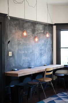 AFTER: A chalkboard wall, new light fixtures, and a bar at laptop height. #ThisNestHome
