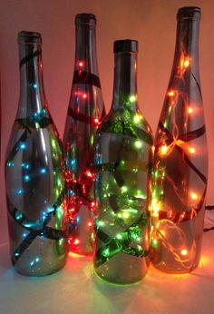 Mirror Finish Lit Deco Wine Bottle on Etsy, $65.00