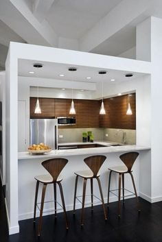 Peninsula Kitchen Designs with Integrated High Seating Areas and Bar Furniture
