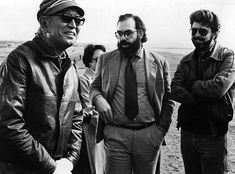 Akira Kurosawa, Francis Ford Coppola and George Lucas on the set of Kagemusha.