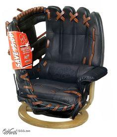 It's so me! LOVE! baseball glove chair....man cave!