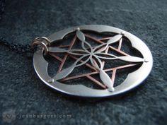 Étoile tétraèdre et fleur de vie pendentif - en argent et cuivre - géométrie sacrée