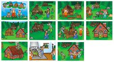 Tři prasátka Story Sequencing, Fable, Three Little Pigs, Playing Cards, Activities, Puzzle, Reading, Books, Pictures