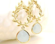 Mint Green Earrings Gold Leaf Earrings Laurel by LoveShineBridal