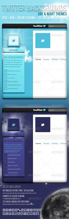 Overview: 2 Twitter backgrounds inspired by the Day and Night with a very detailed design, a placeholder for your picture,25 vecto