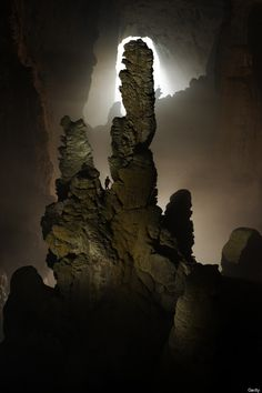 The Son Doong Cave in Vietnam is the biggest cave in the world. It's over 5.5 miles long, has a jungle and river, and could fit a 40-story skyscraper within its walls. Photographer unknown.