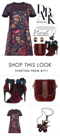 """""""Dark Floral Romance"""" by conch-lady ❤ liked on Polyvore featuring Burberry, darkfloral, darkfloraldress and darkfloralromance"""