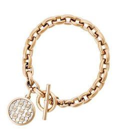 a1879744191a Michael Kors Rose Gold Tone Toggle Link Bracelet Monogram MK for sale online