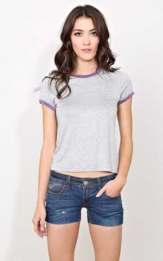 #FashionVault #styles for less #Women #Tops - Check this : Grey Reese Knit Ringer Tee - LGE - Grey Combo in Size Large by Styles For Less for $11.99 USD