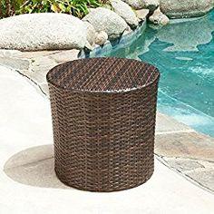 Overton Outdoor Wicker Barrel Side Table