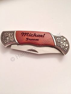 This listing is for two personalized pocket knife engraved with name and special title on one side and the date of event or special day on the other,,,, or anything you would like up to two lines on e