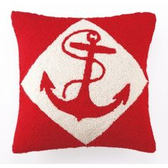 Anchor Nautical Wool Hooked Pillow in Bright Red