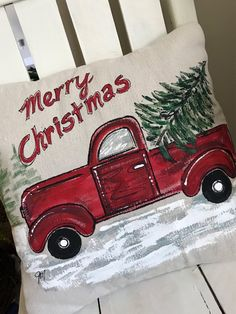 Red Truck with Christmas Tree Hand-painted Pillow Plaid Flannel Red and Green Pillows Pillow Cover Christmas Red Truck, Christmas Signs, Vintage Christmas, Christmas Time, Christmas Decorations, Christmas Ornaments, Christmas Rock, Homemade Christmas, Home Design