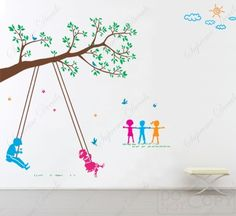 Children Play Swing--Vinyl Wall decals stickers art Playroom. $65.00, via Etsy.