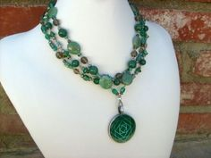 Green Multi Strand Pendant Necklace With Mountain Jade And Aventurine | Drunkenmimes - Jewelry on ArtFire
