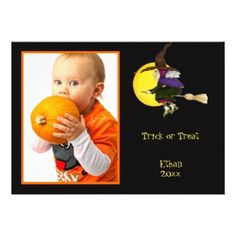 #Trick or Treat Halloween Witch Photo Frame or Card - #halloween #invitation #cards #party #parties #invitations #card