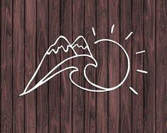 Mountain and Ocean Decal Ocean Wave Decal Sun Decal Car Decal Laptop Decal Vinyl Sticker Beach Decal Window Decal Cute Tattoos, Body Art Tattoos, Tatoos, Window Decals, Vinyl Decals, Yeti Decals, Monogram Car Decals, Cute Car Decals, Tattoo Mar