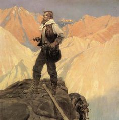 "NC Wyeth - The Prospector.  Reminds me of ""Wanderer above the Sea of Fog"" by Caspar David Friedrich"