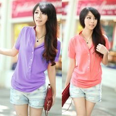 2013 Summer Stand Collar Chiffon Shirt Solid Color Short-Sleeve T-Shirt Plus Size Clothing Free Shipping