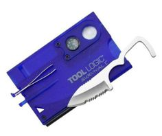 Tool Logic SVC1B Survival Card Tool With 1/2 Serrated Knife, Fire Starter, Whistle, Compass and Magnification Lens, Translucent Blue $23