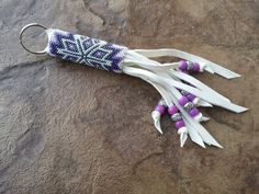 Native American Beaded Keychain  Snowflake by AmandasBeadingHeart, $55.00