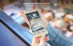 Android Phone App Mockup is package of 6 beautiful mockups for android app presentation. Samsung Galaxy J7 2016 smart phone gold in the women's hand will ensure that your apps look even better.  http://rsplaneta.com/portfolio/android-phone-app-mockup/