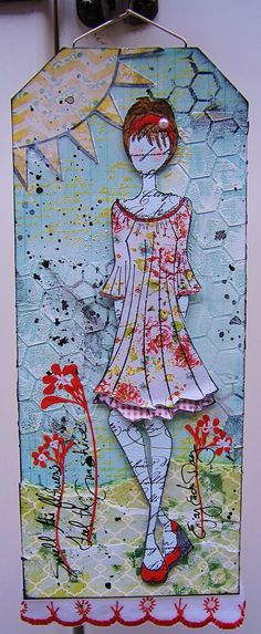 Mixed Media Tag using Julie Nutting's Doll Stamp!!