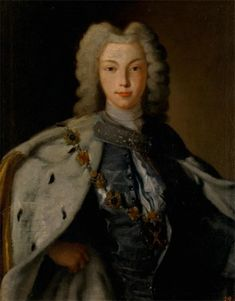 Portrait of Emperor Peter II, unknown painter. The half-length portrait represents the Emperor Peter II against the pale brown background. He is wearing a silver-grey undone kaftan with buttons running on the left side, a light shirt and a shawl of the same colour, an ermine mantle fastened with a jewelled belt, and a white powdered wig. The image is completed with depiction of the chain and cross of the Order of St. Andrew the First-Called.