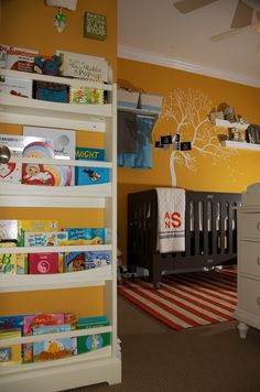 Love the book wall! - Project Nursery
