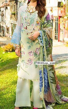 Pakistani Lawn Suits, Pakistani Dresses, Green Lawn, Pakistani Designers, Online Dress Shopping, Dress Collection, Dresses Online, Kimono Top, Trousers