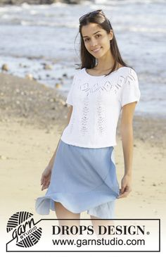 Spring Melt Top - Knitted top with round yoke in DROPS Safran. The piece is worked top down with lace pattern and short sleeves. Sizes S - XXXL. Lace Patterns, Knitting Patterns Free, Free Knitting, Finger Knitting, Scarf Patterns, Knitting Tutorials, Drops Design, Magazine Drops, Summer Knitting
