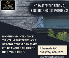 Roofing maintenance tip - Trim the trees as a strong storm can make its branches crashing into your roof. Roofing Companies, Roofing Services, Branches, North Carolina, Trees, Window, Strong, Canning