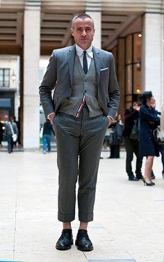 0c51da9fa60 Thom Browne Stylish Mens Outfits, Knit Vest, Brown Fashion, Thom Browne,  Korean