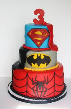 If Sammy is still into superheroes by his 9th birthday, he's so getting this cake!!! ----- And Everything Sweet: Superhero Cake @Holly Hanshew Elkins Williamson LeuVoy